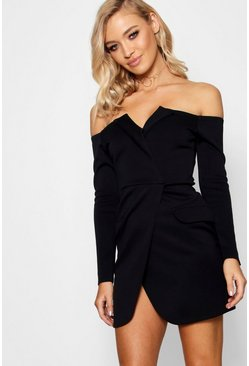 Black Off the Shoulder Blazer Bodycon Dress