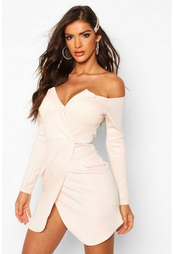 Nude Off the Shoulder Blazer Bodycon Dress