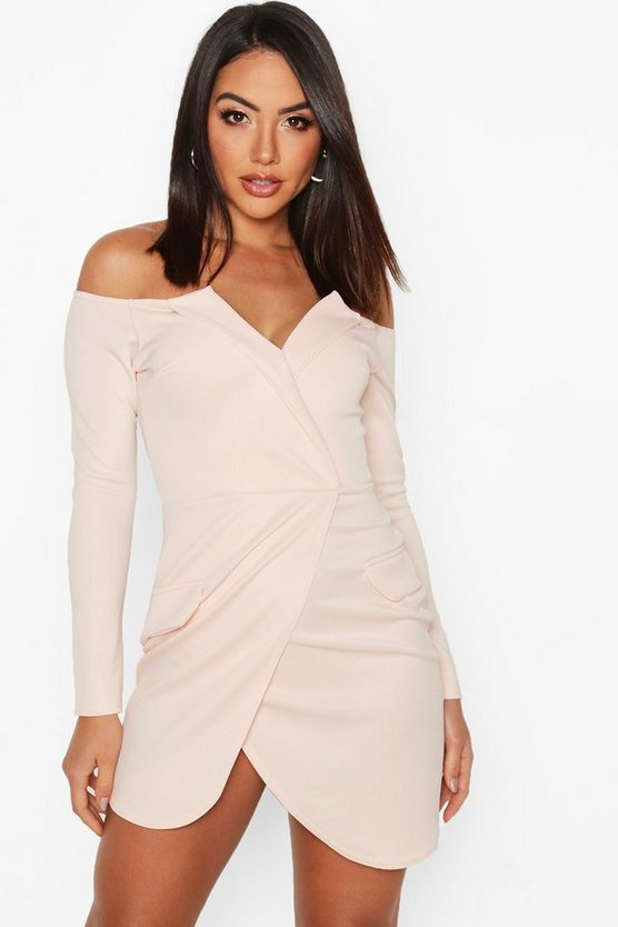 Womens Pastel pink Off the Shoulder Blazer Bodycon Dress