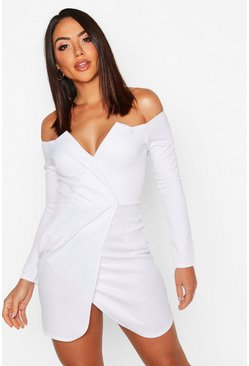 White Off the Shoulder Blazer Bodycon Dress