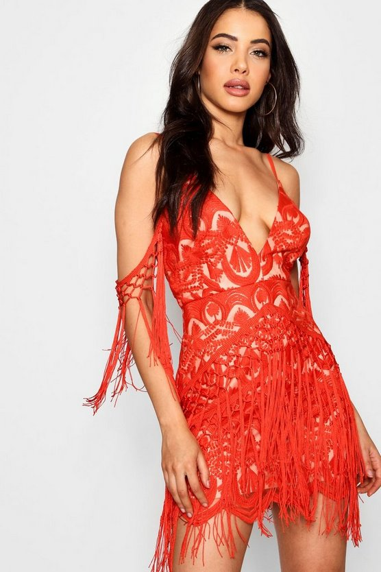 Tassel and Lace Cold Shoulder Bodycon Dress