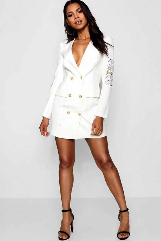 Blazer Dress with Lace Detail