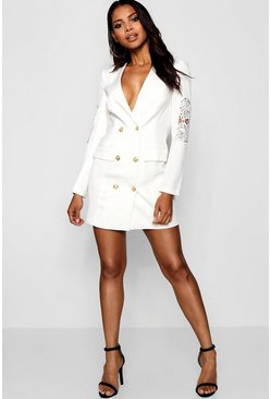 Womens White Blazer Dress with Lace Detail