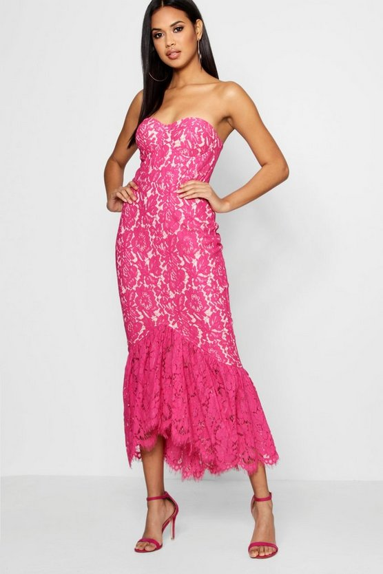 Lace Bandeau Ruffle Hem Midi Dress