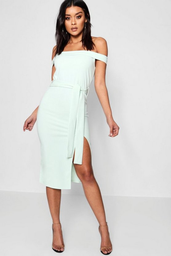 Bardot Tie Waist Split Detail Midi Dress