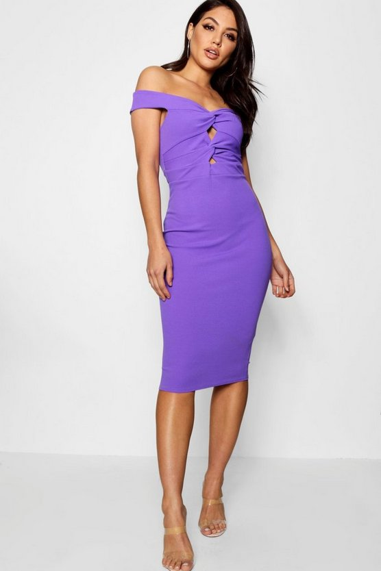 Bardot Twist Front Bodycon Midi Dress