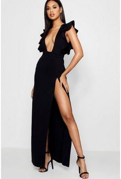 Womens Black Ruffle Plunge Split Leg Maxi Dress