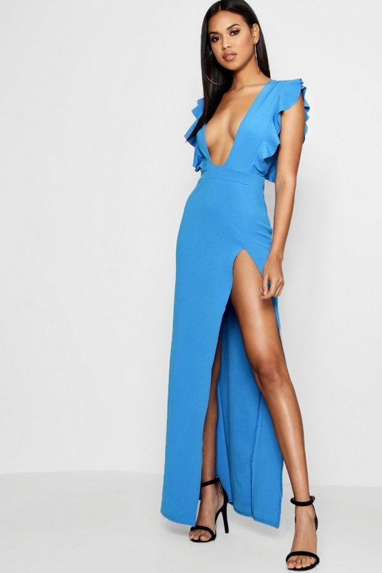 Ruffle Plunge Split Leg Maxi Dress