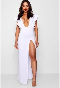 Womens White Ruffle Plunge Split Leg Maxi Dress