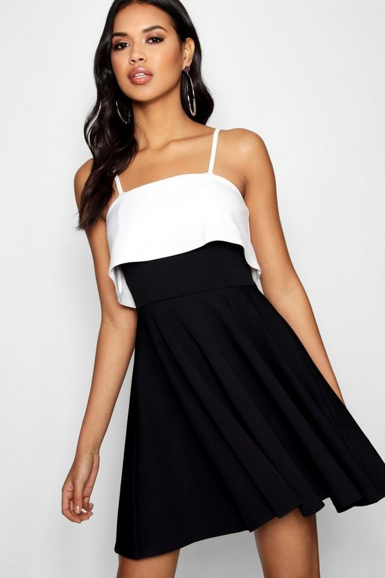 Black Strappy Layered Top Skater Dress