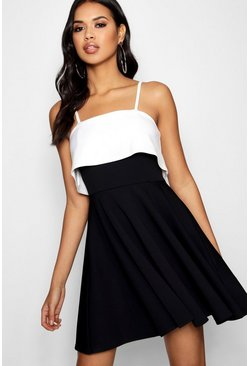 Womens Black Strappy Layered Top Skater Dress