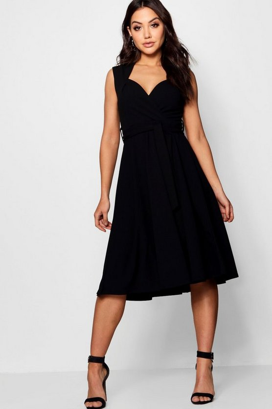 Black Sweetheart Plunge Tie Waist Midi Dress