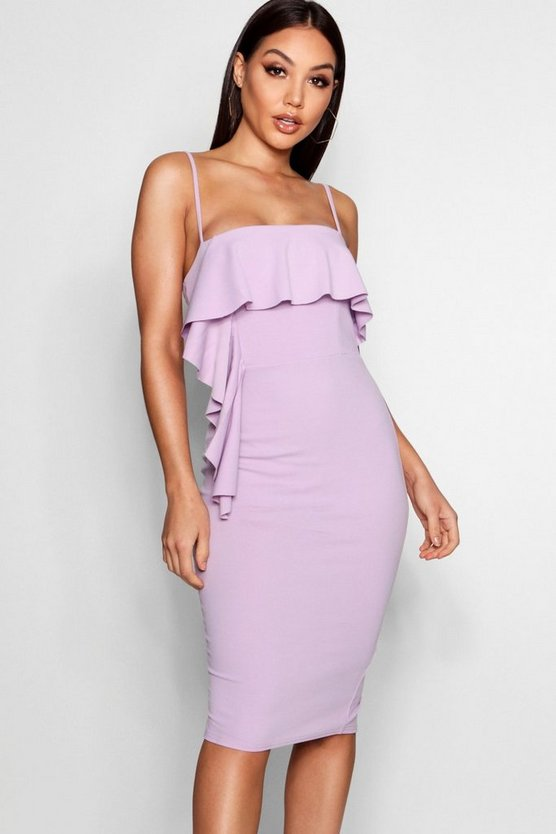 Waterfall Frill Detail Midi Dress