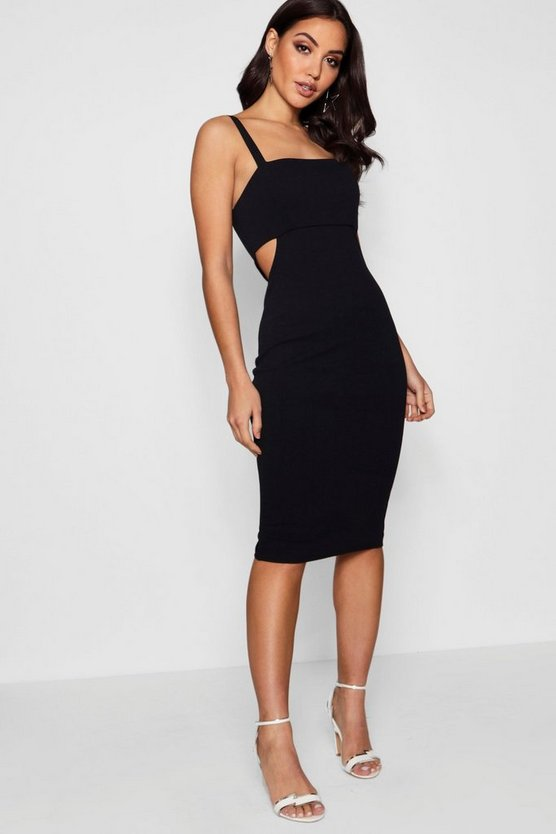 Black Square Neck Cut Out Side Midi Dress