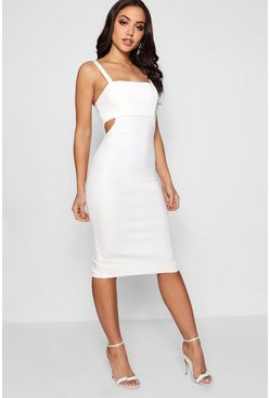 Womens Ivory Square Neck Cut Out Side Midi Dress