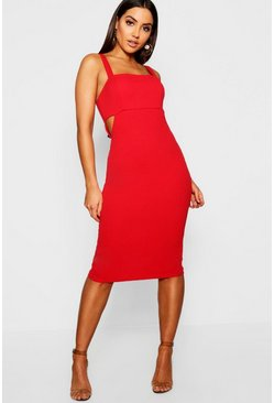 Womens Red Square Neck Cut Out Side Midi Dress