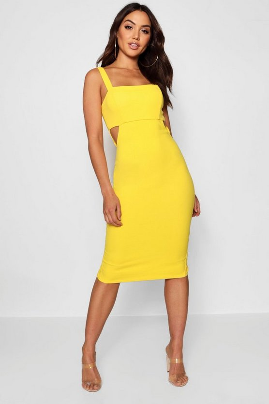 Square Neck Cut Out Side Midi Dress