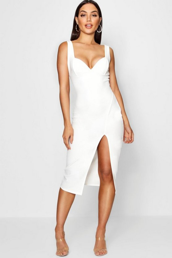 Structured Bust Split Detail Midi Dress