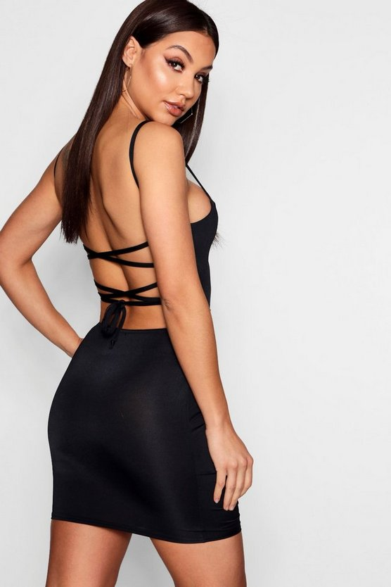 Slinky Ruched Strappy Back Bodycon Dress