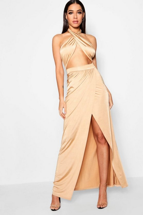 Slinky Wrap Top Thigh Split Maxi Dress