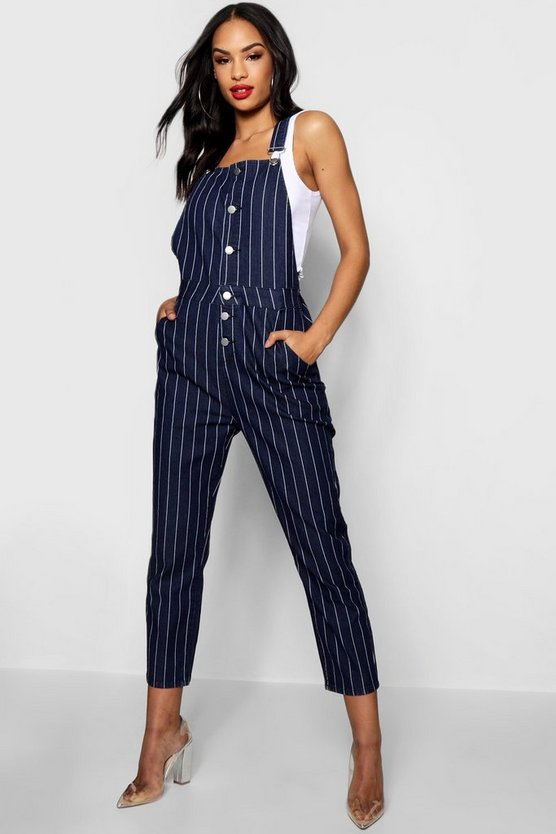 Womens Blue Pinstripe Button Detail Dungarees