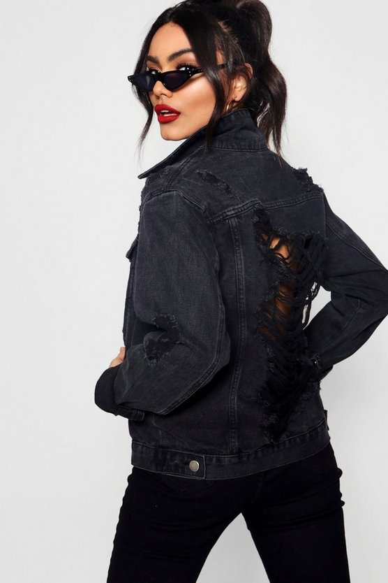 Womens Black Oversize Distressed Denim Jacket