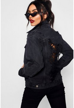 Womens Meena Black Oversize Distressed Denim Jacket