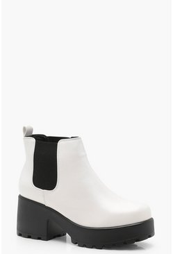 Womens White Leah Cleated Pull On Chelsea Boots