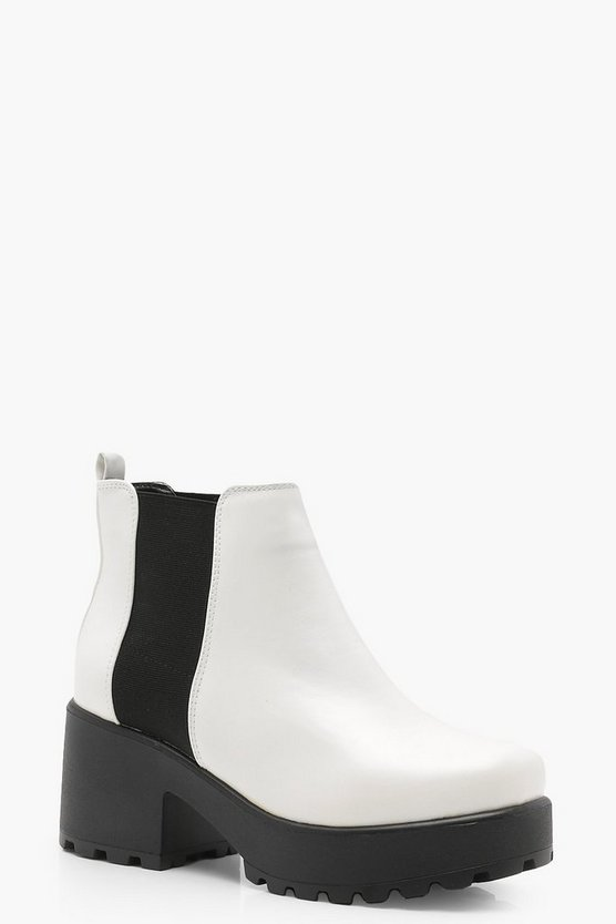 Womens White Pull On Chelsea Boots