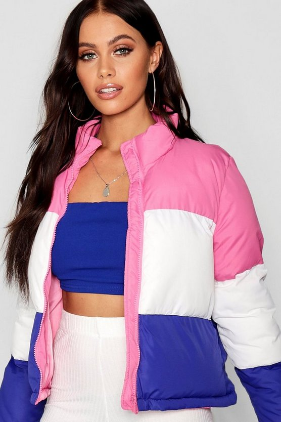 Panelled Colour Block Padded Jacket
