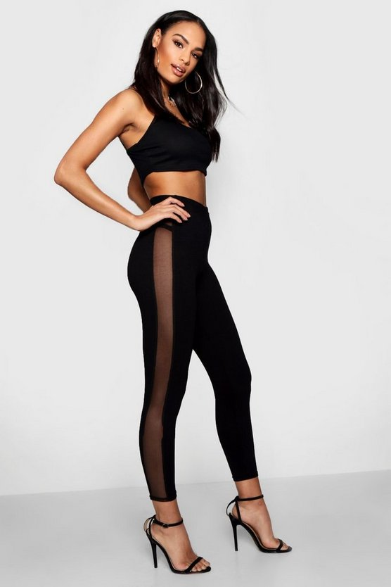 Womens Black Tonal Mesh Panel High Waist Leggings
