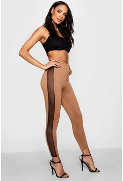 Camel Tonal Mesh Panel High Waist Leggings