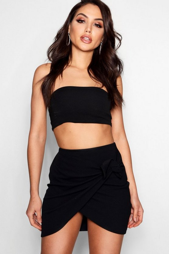 Womens Black Wrap Front Crepe Mini Skirt