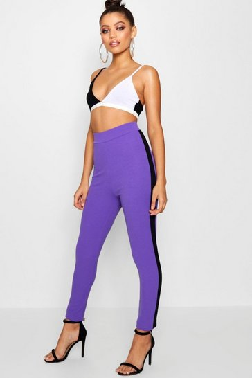 Womens Blackcurrant Contrast Panel Crepe Leggings