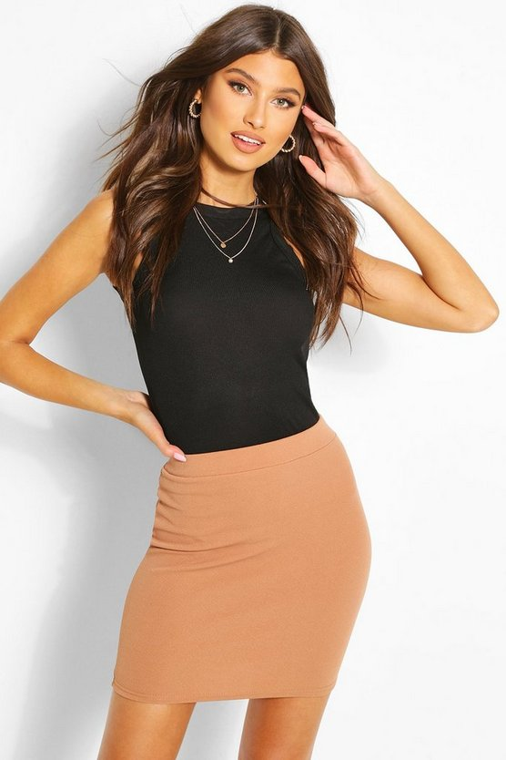 Basic Pastel Crepe Micro Mini Skirt