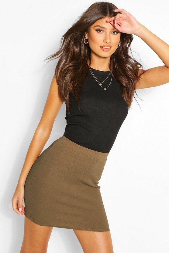Womens Khaki Basic Pastel Crepe Micro Mini Skirt