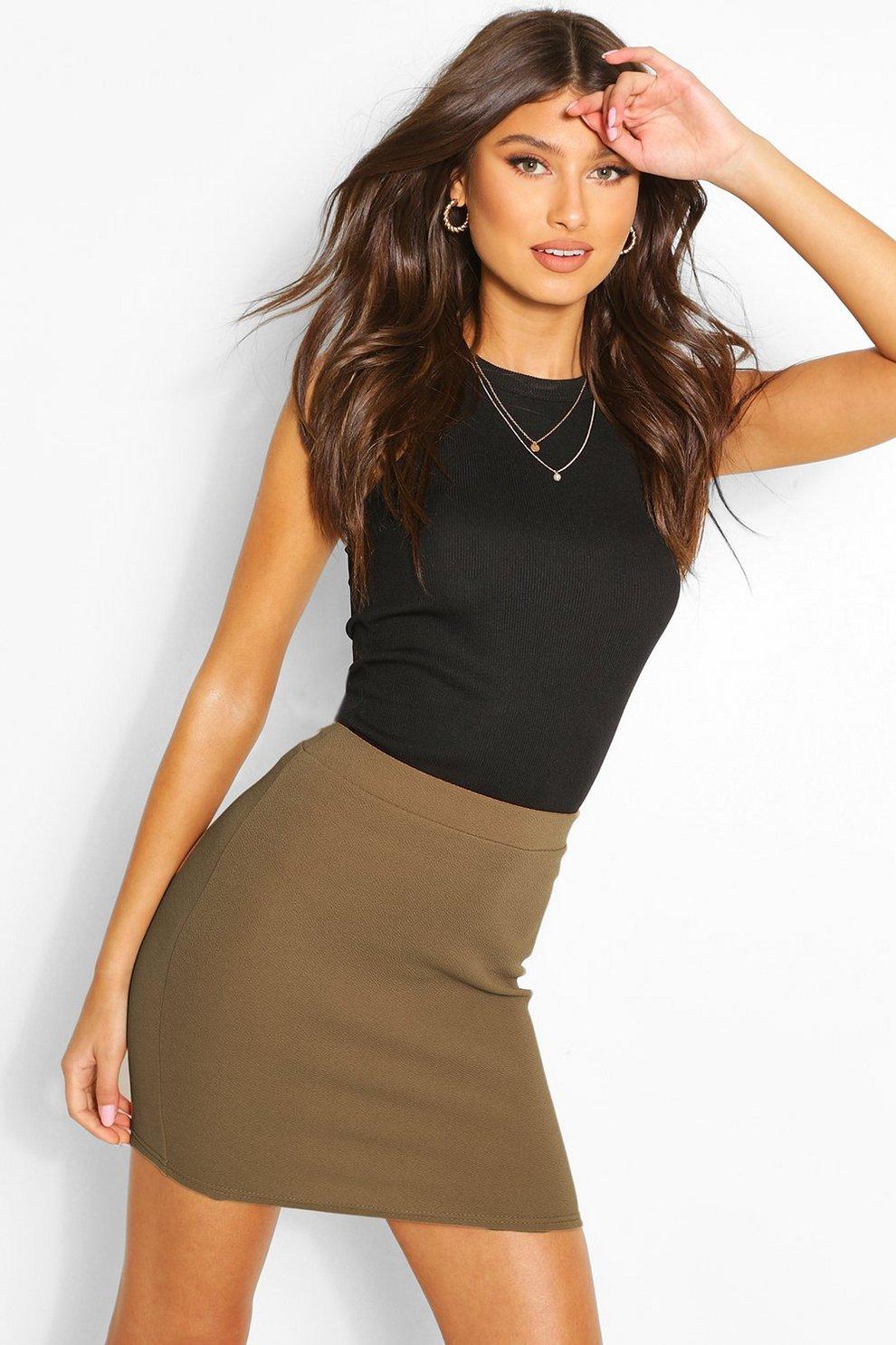 35911c47a3058 Womens Khaki Basic Pastel Crepe Micro Mini Skirt