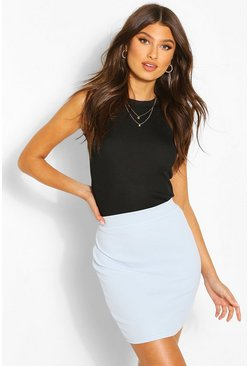Pastel blue Basic Pastel Crepe Micro Mini Skirt