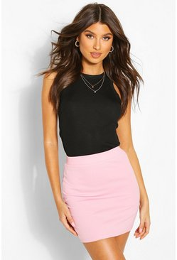 Womens Pastel pink Basic Pastel Crepe Micro Mini Skirt