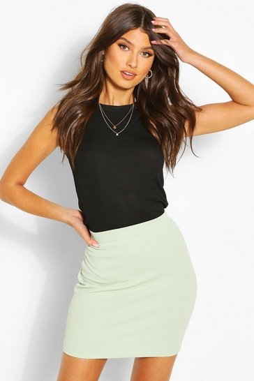 Sage Basic Pastel Crepe Micro Mini Skirt