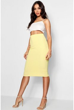 Lemon Basic Pastel Crepe Midi Skirt