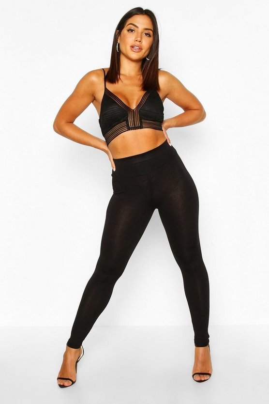 Womens Black Basic High Waist Leggings