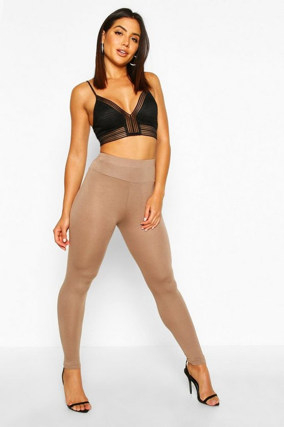 Womens Mocha Basic High Waist Leggings