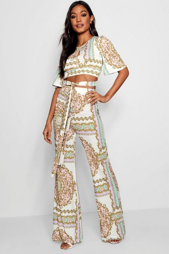 Womens Green fiz Chain Print Tie Waist Flared Trouser Co-ord