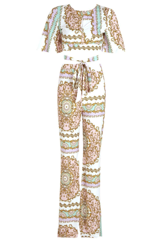 Conjunto estampados de pantalones Green cintura y Fiz nudo acampanados con en cadena rt4rqp