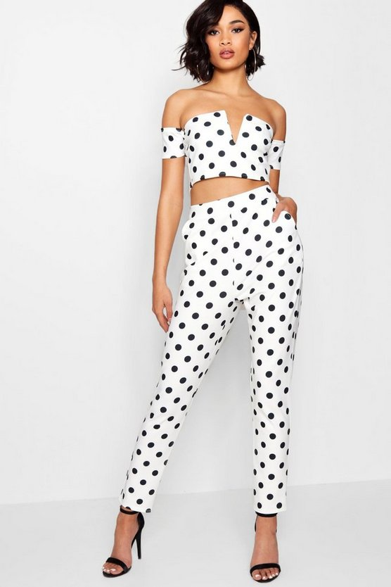 Womens White Spot V Bar Top And Pants Co-Ord