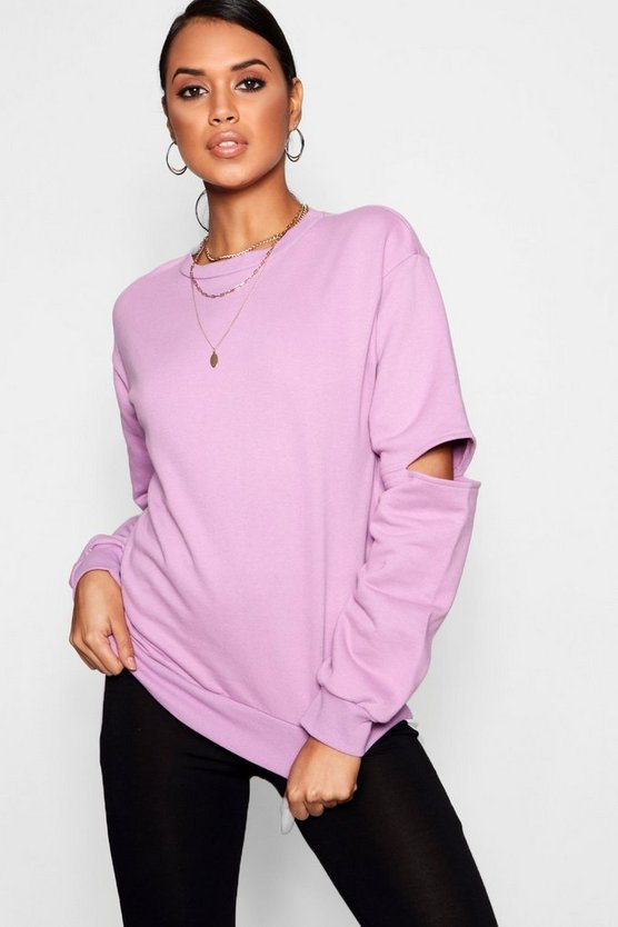 Athleisure Cut Out Sleeve Sweat Top