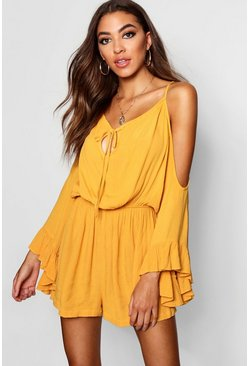 Womens Mustard Flared Sleeve Cold Shoulder Playsuit