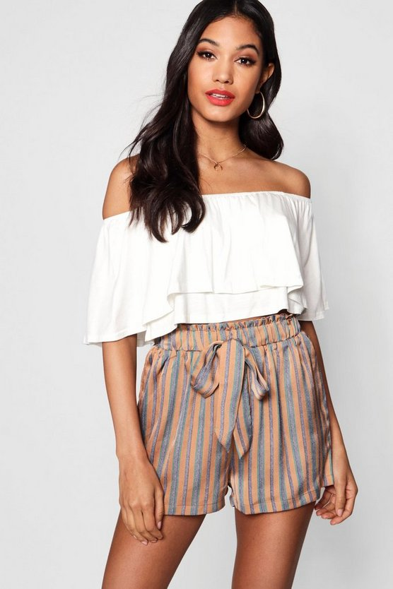 Paperbag Waist Striped Short