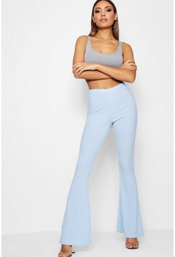Womens Pastel blue Ribbed Skinny Flare